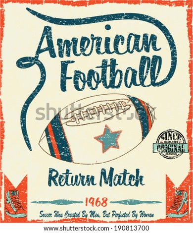 american football graphic design and t shirt print - stock vector