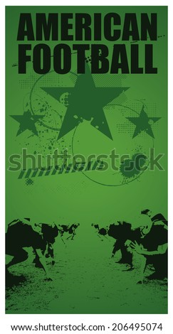 american football grunge poster with players - stock vector