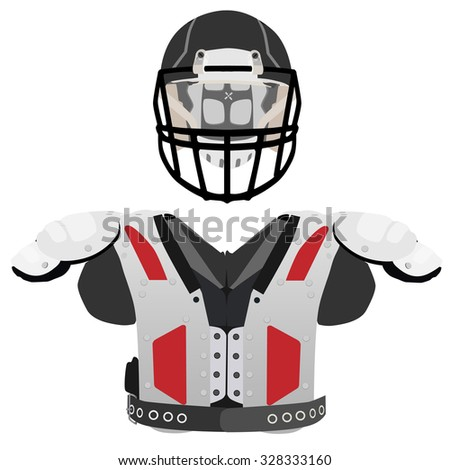 American football helmet and armour vector icon set isolated, defense, sport equipment - stock vector
