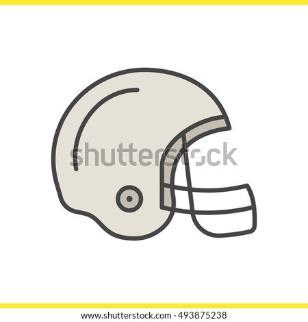 american football helmet color icon isolated vector illustrations