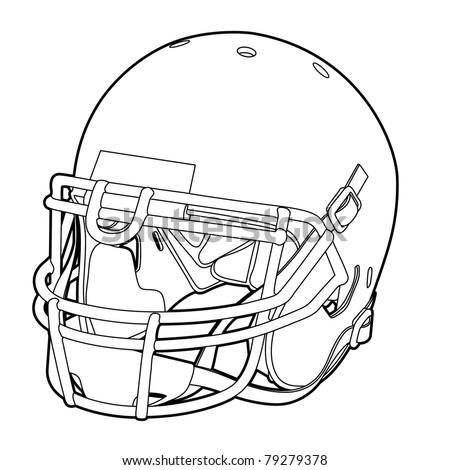 American football helmet (outline vector illustration) - stock vector