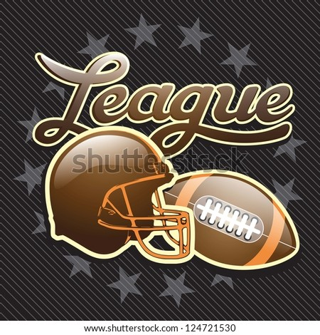 American Football helmet poster on black background. Vector illustration.