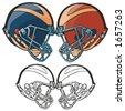American football helmets. Vector illustration - stock vector