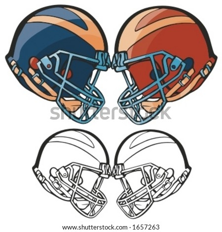 American football helmets. Vector illustration - stock vector