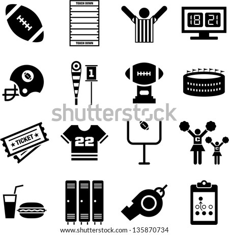 American Football icons - stock vector