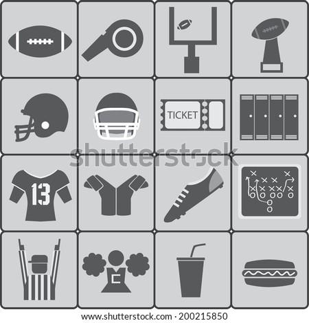 American football icons. Vector illustration. - stock vector