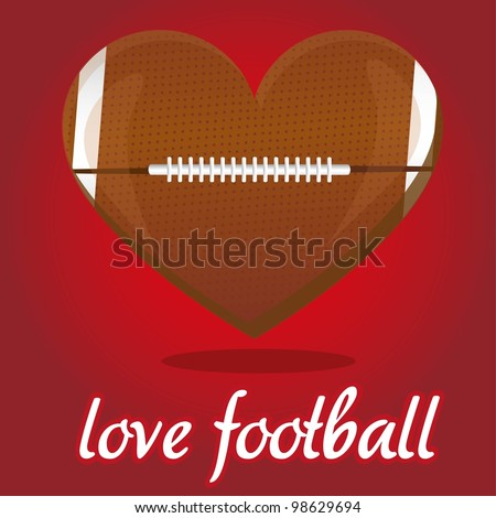 american football illustration shaped heart, over red background - stock vector