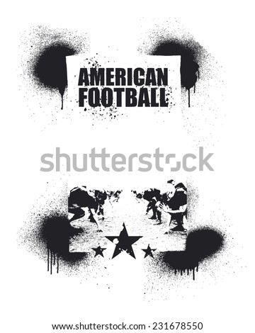 american football inky frame - stock vector