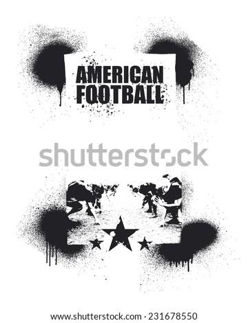 american football inky frame - stock vector