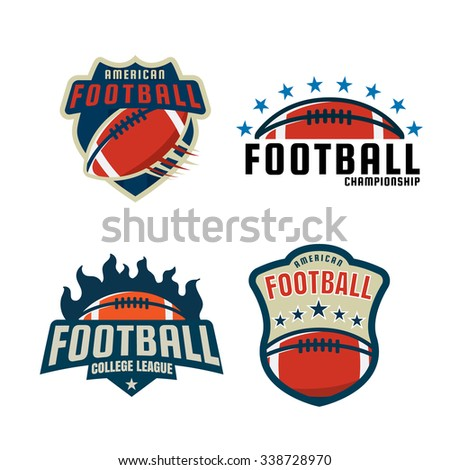 American football logo template collection, vector illustration