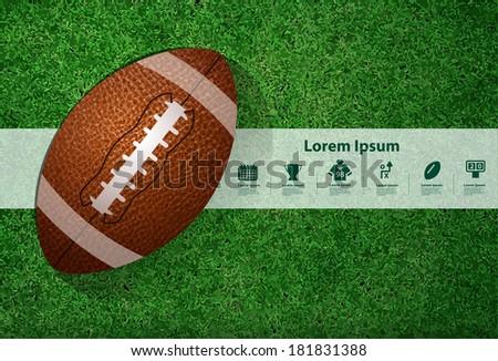 American football on the field, Vector illustration template design - stock vector