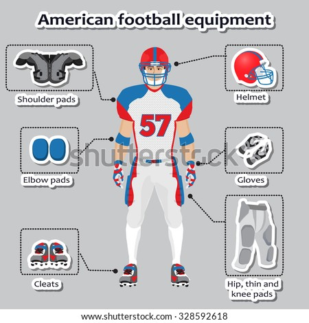 American football player equipment for training and competitions - stock vector