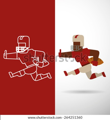 American football player, flat and line, vector