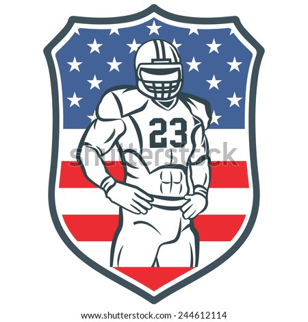 American football player. For your labels or badges design. United states shield with flag - stock vector