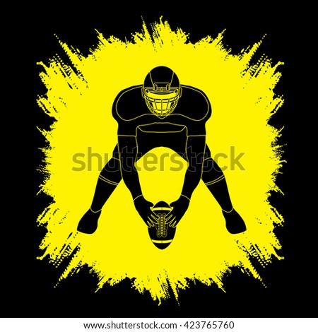 American football player front view designed on grunge frame background graphic vector - stock vector