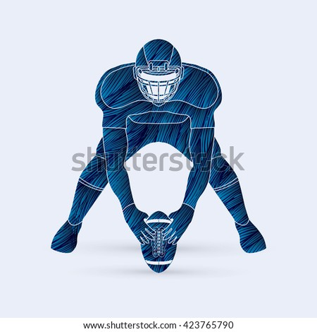 American football player front view designed using blue grunge brush graphic vector - stock vector