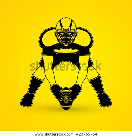 American football player front view graphic vector - stock vector