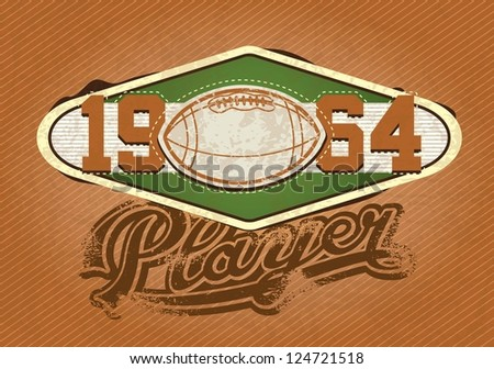 American football Player insignia, 1964 retro colors. Vector Illustration - stock vector