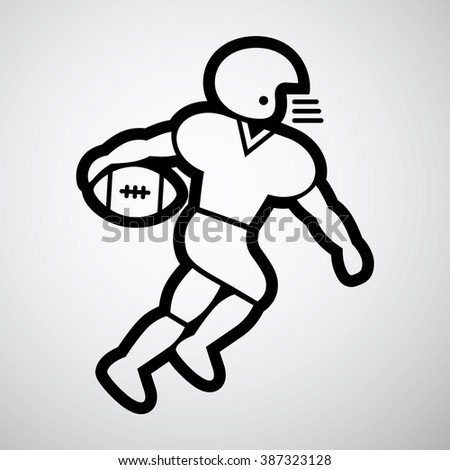 American football player, line icon. Vector illustration.