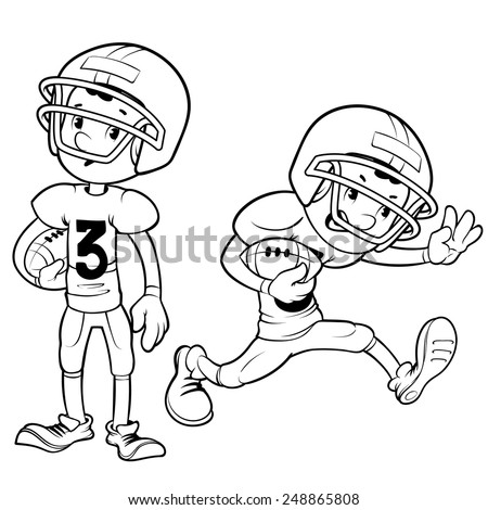 American football player outlined on a white background. Vector outline illustration for coloring book.