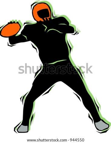 American football player.Pantone colors.Vector illustration - stock vector