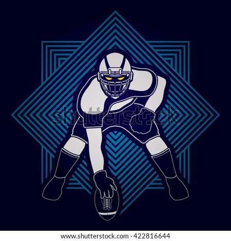 American football player posing designed on line square background graphic vector - stock vector