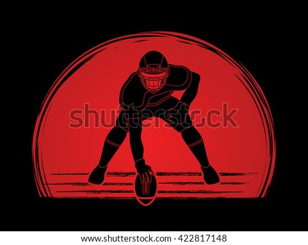 American football player posing designed on sunset background graphic vector - stock vector