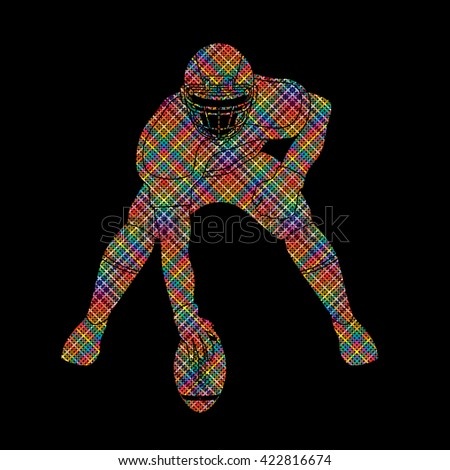 American football player posing designed using colorful pixels graphic vector - stock vector