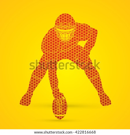American football player posing designed using hexagon pattern graphic vector - stock vector