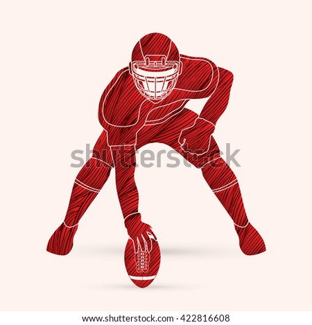 American football player posing designed using red grunge brush graphic vector - stock vector