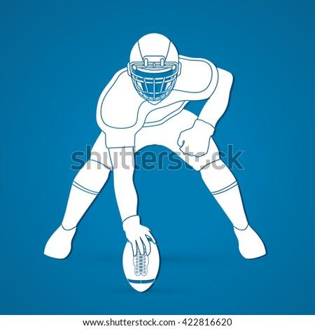 American football player posing graphic vector - stock vector