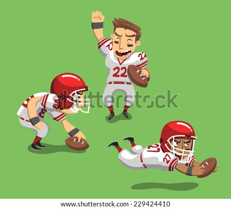 American Football Player with Ball in field I, vector illustration cartoon. - stock vector