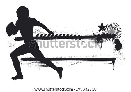American football player with grunge banner - stock vector
