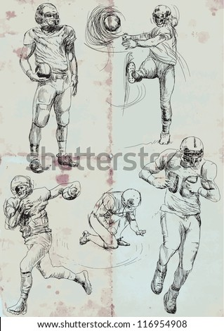 American football players. Vector hand drawn illustration. Collection of drawings (each on a separate layer) on vintage paper in blue color (the paper is separated in the lower layer). - stock vector