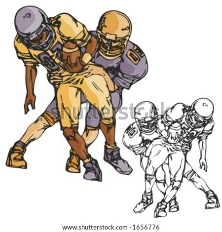 American football players. Vector illustration - stock vector