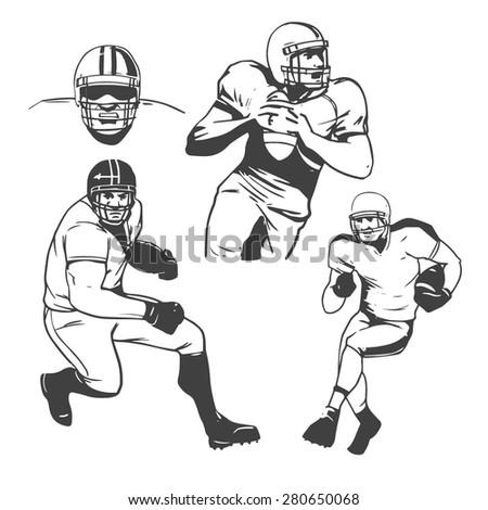 american football players vector illustration inking - stock vector