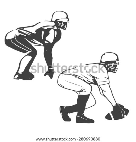 american football players vector illustration inking