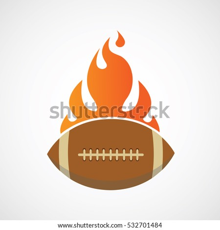 American FootBall Rugby On Fire Logo Sport Illustration Vector