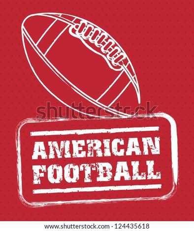 american football seal over red background. vector illustration - stock vector