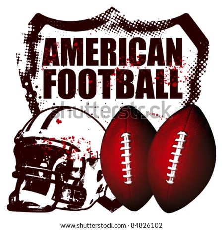 american football shield with helmet and balls - stock vector