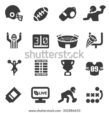 American Football Silhouette icons - stock vector