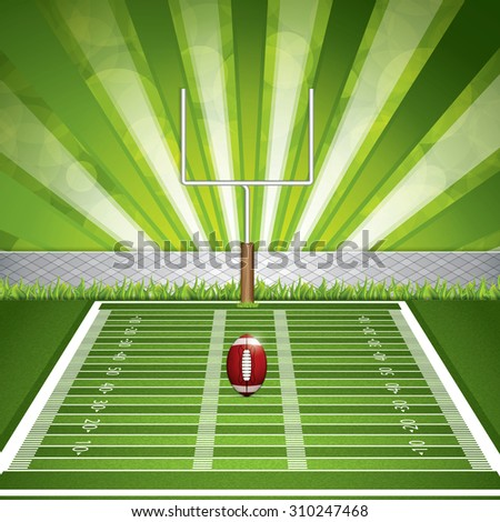 American football stadium with detailed ball and goalpost. Vector illustration. - stock vector