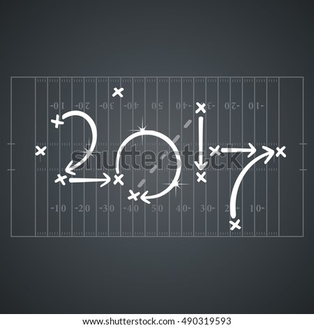 American Football strategies for goal 2017 black board background