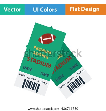 American football tickets icon. Flat color design. Vector illustration.