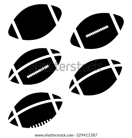 American Football Vector Icon set isolated on white background