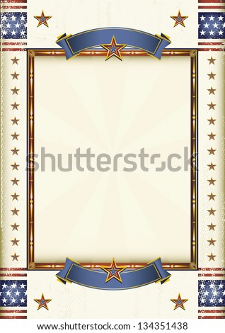 American frame. A grunge patriotic poster for your advertising. - stock vector