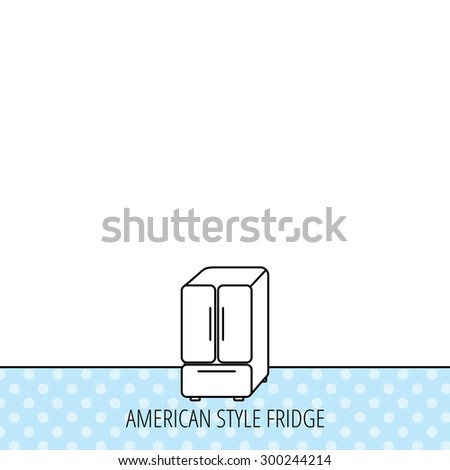 American fridge icon. Refrigerator sign. Circles seamless pattern. Background with icon. Vector - stock vector