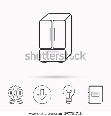 American fridge icon. Refrigerator sign. Download arrow, lamp, learn book and award medal icons. - stock vector
