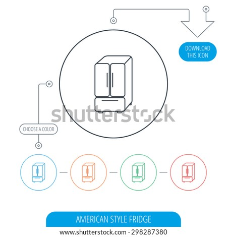 American fridge icon. Refrigerator sign. Line circle buttons. Download arrow symbol. Vector - stock vector