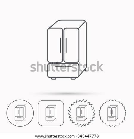 American fridge icon. Refrigerator sign. Linear circle, square and star buttons with icons. - stock vector